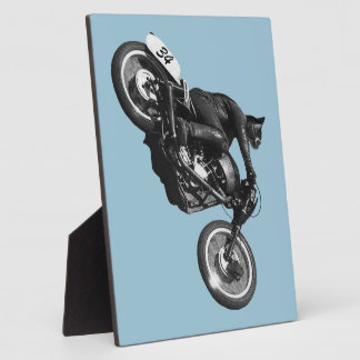 funny cat vintage motorcycle photo plaques