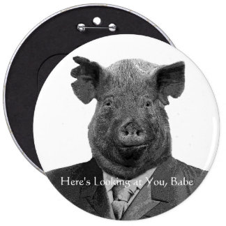 Funny Chauvinist Pig Pin - Or Add Your Own Text