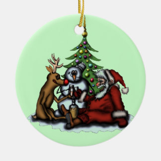 Funny Christmas drinking party tree ornament