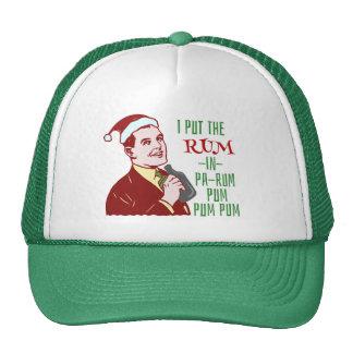 Funny Christmas Retro Man Drinking Rum Holiday Cap