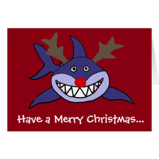 Funny Christmas Shark Reindeer Greeting Card