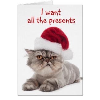 "Funny Cranky Cat, ""I want ALL the presents"" card"