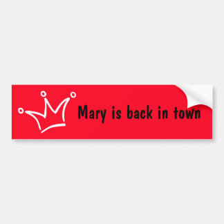 Funny Crown white + your backgr. & text Bumper Sticker