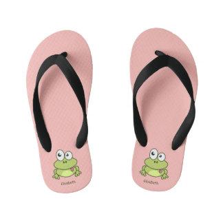 Funny cute frog cartoon flip flops