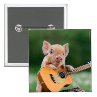 Funny Cute Pig Playing Guitar 15 Cm Square Badge