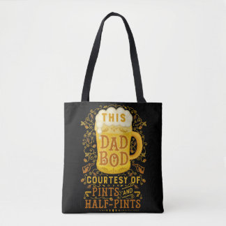 Funny Dad Bod Beer Pints Vintage Humor Fathers Day Tote Bag