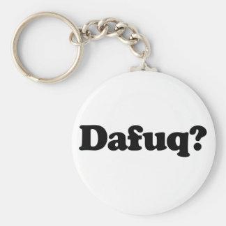 Funny dafuq humor basic round button key ring