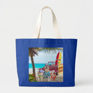 Funny Dogs/Lab/Hound at the Beach Jumbo Tote Bag