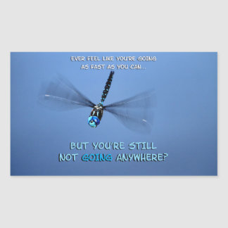 Funny Dragonfly in a Hurry Rectangular Sticker