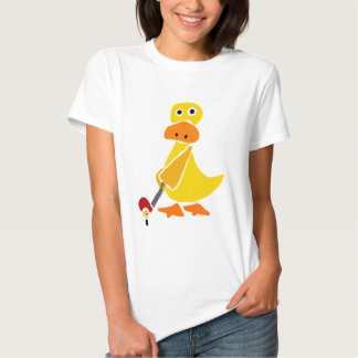 Funny Duck Playing Golf Primitive Art Tee Shirts
