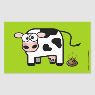 Funny Embarrassed Pooping Cow Rectangular Sticker