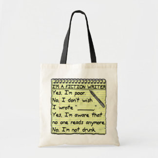 Funny Fiction Writer Answer Sheet Notebook Budget Tote Bag