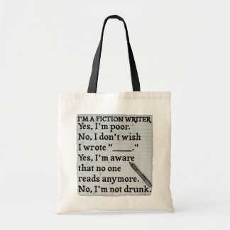 Funny Fiction Writer Answer Sheet Paper Budget Tote Bag