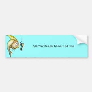 Funny Fish And Worm Bumper Sticker