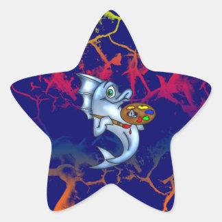 Funny Fish Artist Star Sticker