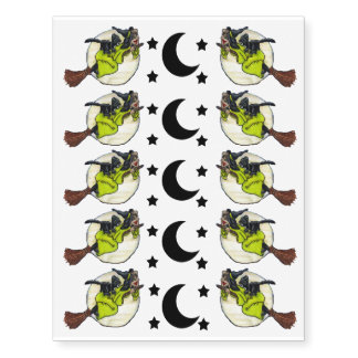 Funny Flying Witch Black Cat Moon Stars Halloween