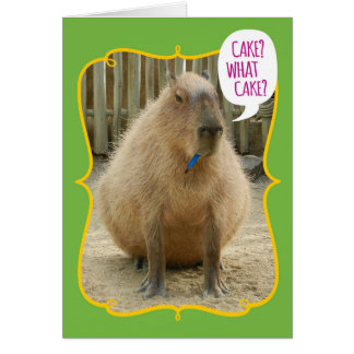 Funny Giant Cake-Eating Capybara Birthday Greeting Card