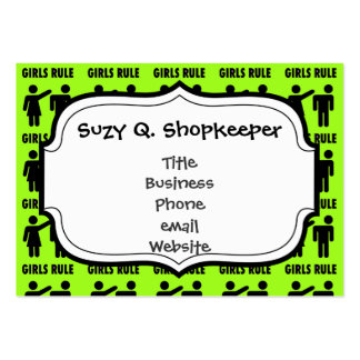 Funny Girls Rule Neon Lime Green Girl Power Pack Of Chubby Business Cards