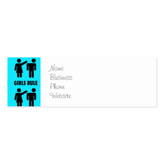 Funny Girls Rule Teal Turquoise Blue Girl Power Pack Of Skinny Business Cards
