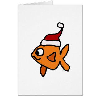Funny Goldfish in Santa Hat Christmas Art Greeting Card