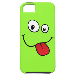 Funny goofy smiley sticking out his tongue, green case for the iPhone 5
