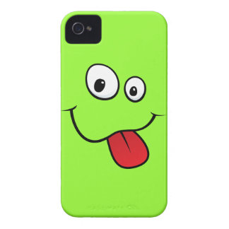 Funny goofy smiley sticking out his tongue, green iPhone 4 Case-Mate case
