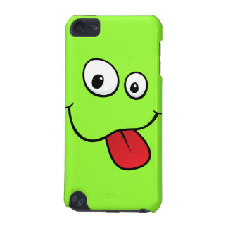 Funny goofy smiley sticking out his tongue, green iPod touch (5th generation) covers