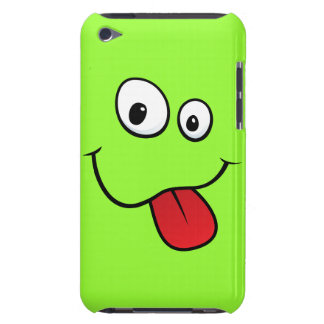 Funny goofy smiley sticking out his tongue, green iPod touch case