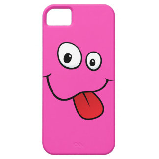 Funny goofy smiley sticking out his tongue, pink barely there iPhone 5 case