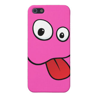 Funny goofy smiley sticking out his tongue, pink iPhone 5/5S covers