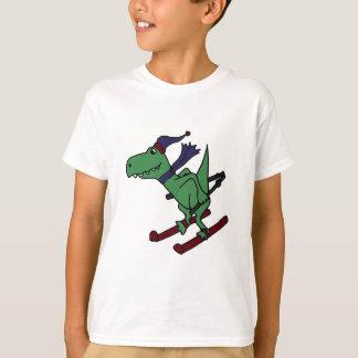 Funny Green Trex Dinosaur Skiing Tee Shirt