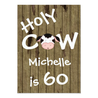 Funny Holy Cow 60th Humorous Birthday Invitation
