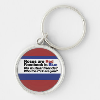Funny internet poem Silver-Colored round key ring