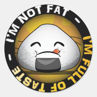 Funny japanese riceball round sticker