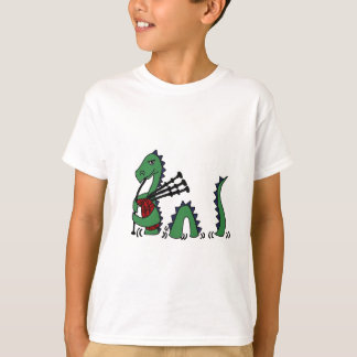 Funny Loch Ness Monster Playing Bagpipes T Shirts