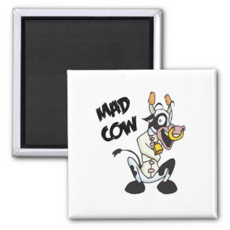 funny mad cow square magnet