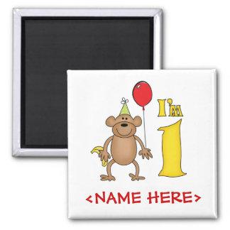 Funny Monkey 1st Birthday Square Magnet