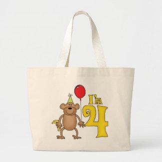 Funny Monkey 4th Birthday Jumbo Tote Bag
