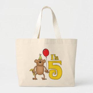Funny Monkey 5th Birthday Jumbo Tote Bag