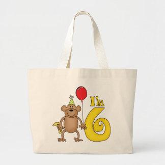 Funny Monkey 6th Birthday Jumbo Tote Bag