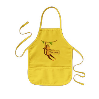Funny monkey holding Your Text Kids Apron
