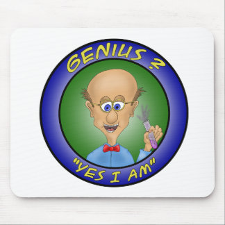 """Funny Mouse Pads:  Genius ?, """"Yes i am"""" Mouse Pad"""
