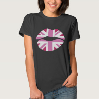 funny pink lips,uk lips,pink union jack tees