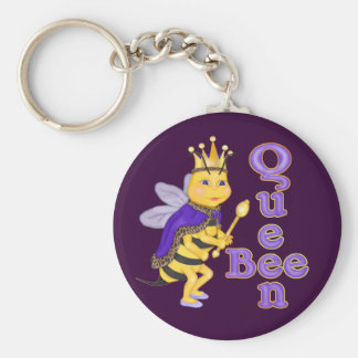 Funny Queen Bee Basic Round Button Key Ring