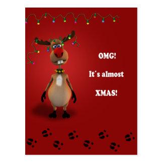 Funny Reindeer Xmas - Postcard