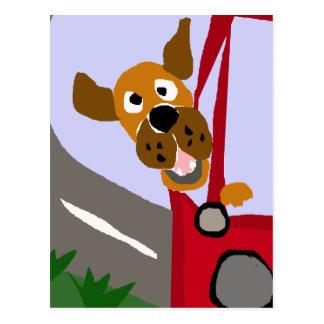 Funny Rescue Dog Riding in Car Pop Art Postcard