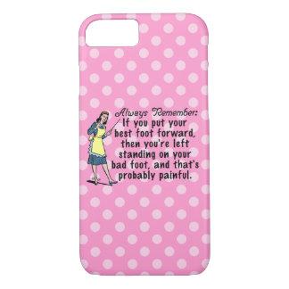 Funny Retro Polka Dot Best Foot Demotivational iPhone 7 Case