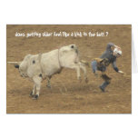 Funny Rodeo Over the Hill Birthday, Bull Rider Greeting Card