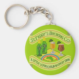 Funny Saint Patrick's Day Leprechaun Brewery Basic Round Button Key Ring