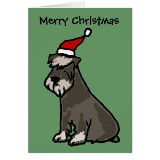Funny Schnauzer in Christmas Hat Greeting Card